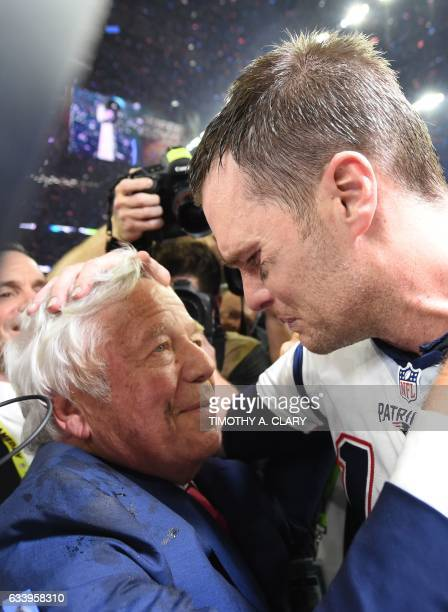 New England Patriots owner Robert Kraft and Tom Brady of the New England Patriots celebrate after defeating the Atlanta Falcons during Super Bowl 51...