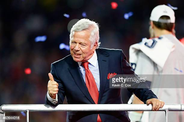 New England Patriots owner Robert Kraft celebrates after defeating the Seattle Seahawks during Super Bowl XLIX at University of Phoenix Stadium on...