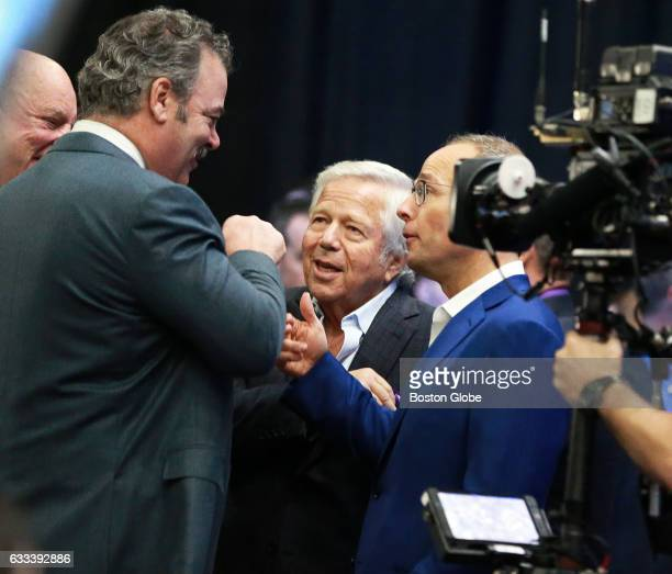 New England Patriots owner Robert Kraft center is pictured as he arrives where NFL Commissioner Roger Goodell held his annual Super Bowl press...