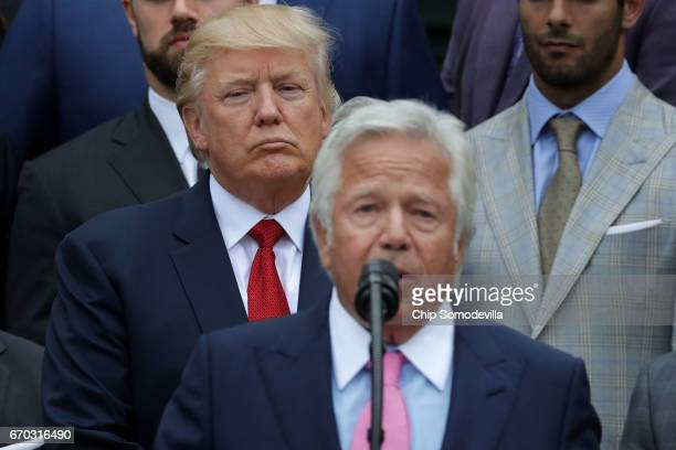 New England Patriots owner Robert Kraft delivers remarks during an event celebrating the team's Super Bowl win hosted by US President Donald Trump on...