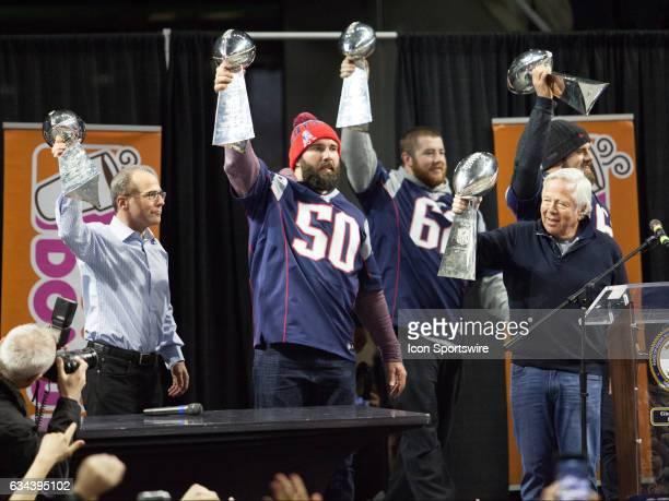 New England Patriots owner Robert Kraft New England Patriots President Jonathan Kraft New England Patriots outside linebacker Rob Ninkovich New...