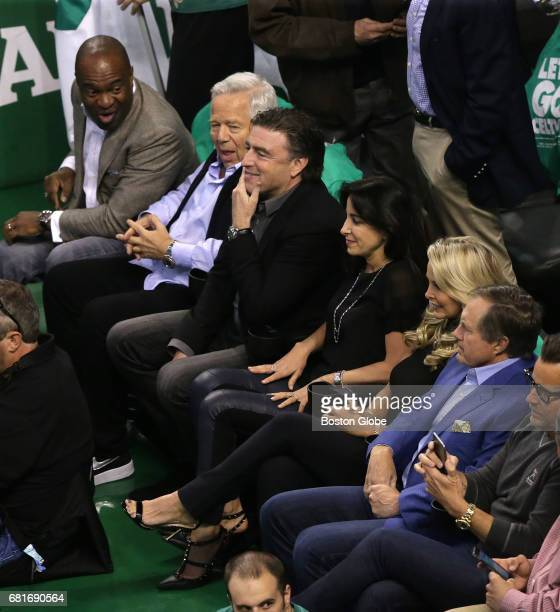New England Patriots owner Robert Kraft second from left and New England Patriots head coach Bill Belichick second from right watch the game The...