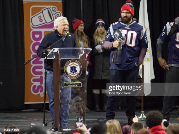 New England Patriots owner Robert Kraft speaks to the thousands while New England Patriots outside linebacker Rob Ninkovich holds the newest Super...