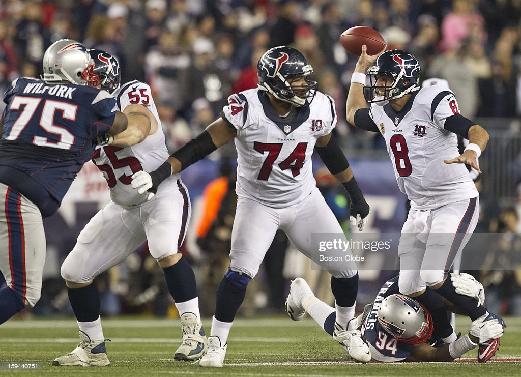 New England Patriots player Justin Francis pressures Houston Texans quarterback Matt Schaub during fourth quarter action as the New England Patriots hosted the Houston Texans in an NFL AFC Divisional Playoff Game at Gillette Stadium, Jan. 13, 2013.