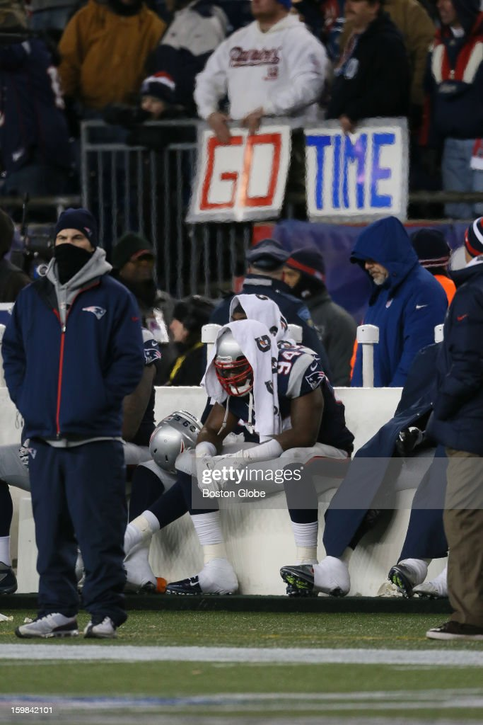 New England Patriots player Justin Francis sits on the bench in the fourth quarter as the New England Patriots hosted the Baltimore Ravens in the AFC Championship Game at Gillette Stadium.
