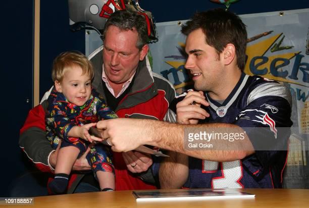 New England Patriots player K Stephen Gostkowski visits Jack at Children's Hospital Boston on February 16 2011 in Boston Massachusetts