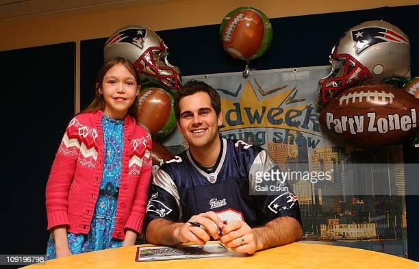 New England Patriots player K Stephen Gostkowski visits Sylvia at Children's Hospital Boston on February 16 2011 in Boston Massachusetts