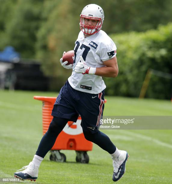 New England Patriots player Rob Gronkowski is pictured during the team's Minicamp practice at Gillette Stadium in Foxborough MA on Jun 7 2017