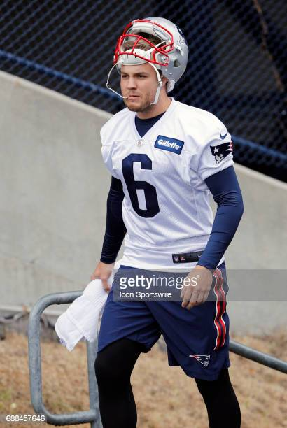New England Patriots punter Ryan Allen walks to practice during New England Patriots OTA on May 25 at the Patriots Practice Facility in Foxborough...