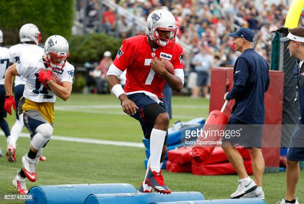 New England Patriots quarterback Jacoby Brissett runs the agility drill during New England Patriots training camp on July 27 at the Patriots Practice...