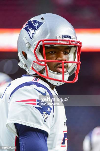 New England Patriots quarterback Jacoby Brissett warms up before the NFL preseason game between the New England Patriots and the Houston Texans on...
