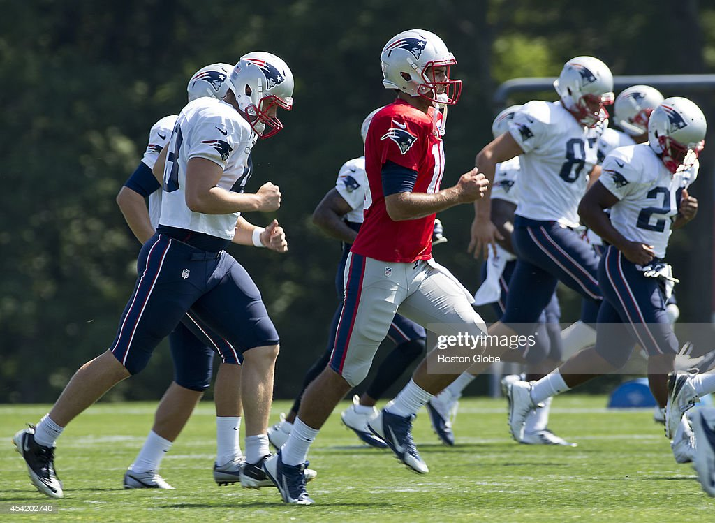 New England Patriots quarterback Jimmy Garopolo during practice on the Gillette Stadium Practice Fields on Monday, August 25, 2014.
