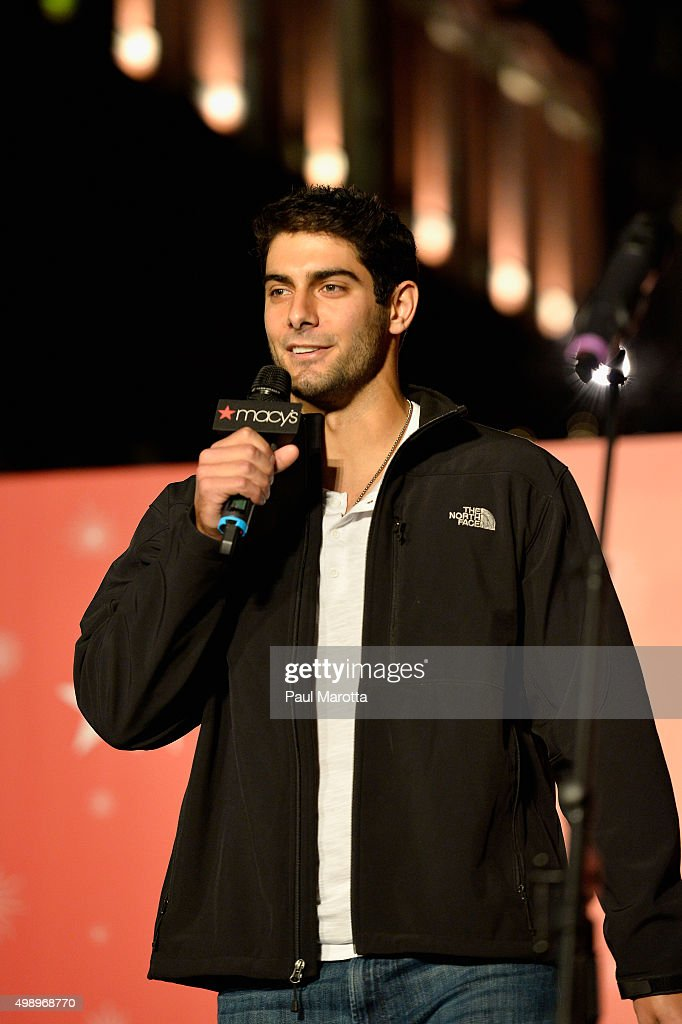 New England Patriots quarterback <a gi-track='captionPersonalityLinkClicked' href=/galleries/search?phrase=Jimmy+Garoppolo&family=editorial&specificpeople=12185713 ng-click='$event.stopPropagation()'>Jimmy Garoppolo</a> attends the annual Christmas tree lighting at Macy's Downtown Crossing on November 27, 2015 in Boston, Massachusetts.