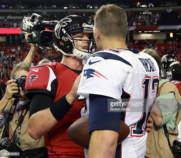 New England Patriots quarterback Tom Brady and Atlanta Falcons quarterback Matt Ryan shake hands at the end of the game The New England Patriots play...
