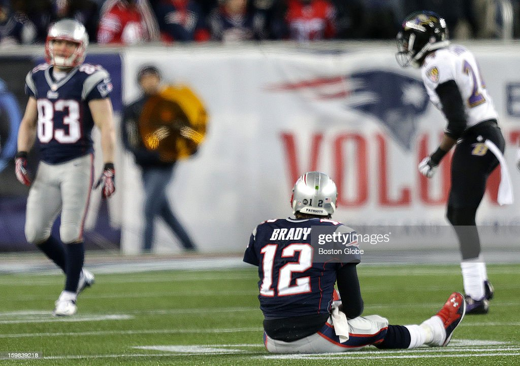 New England Patriots quarterback Tom Brady (#12) and New England Patriots wide receiver Wes Welker (#83), at left, couldn't connect on a pass late in the fourth quarter. There are questions about whether Welker will be around for Brady next season. The New England Patriots hosted the Baltimore Ravens in the AFC Championship Game at Gillette Stadium.