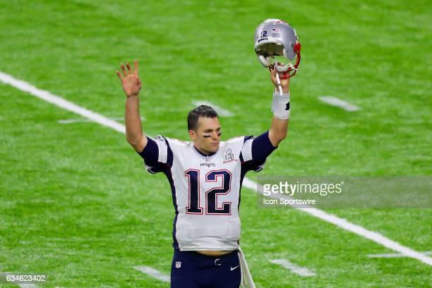 New England Patriots quarterback Tom Brady celebrates after winning Super Bowl LI on February 5 at NRG Stadium in Houston TX