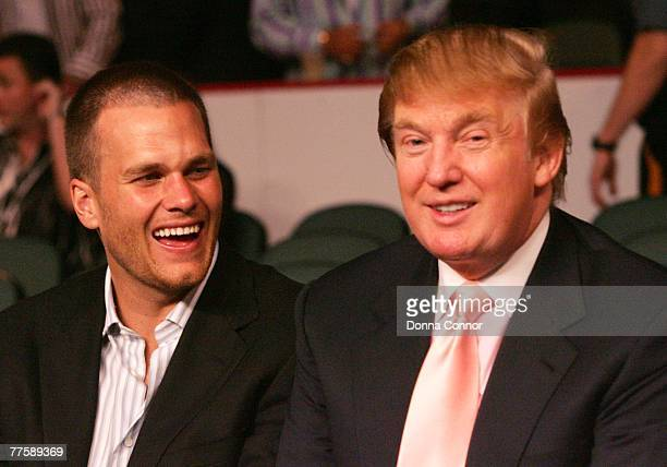 New England Patriots quarterback Tom Brady chats with Donald Trump