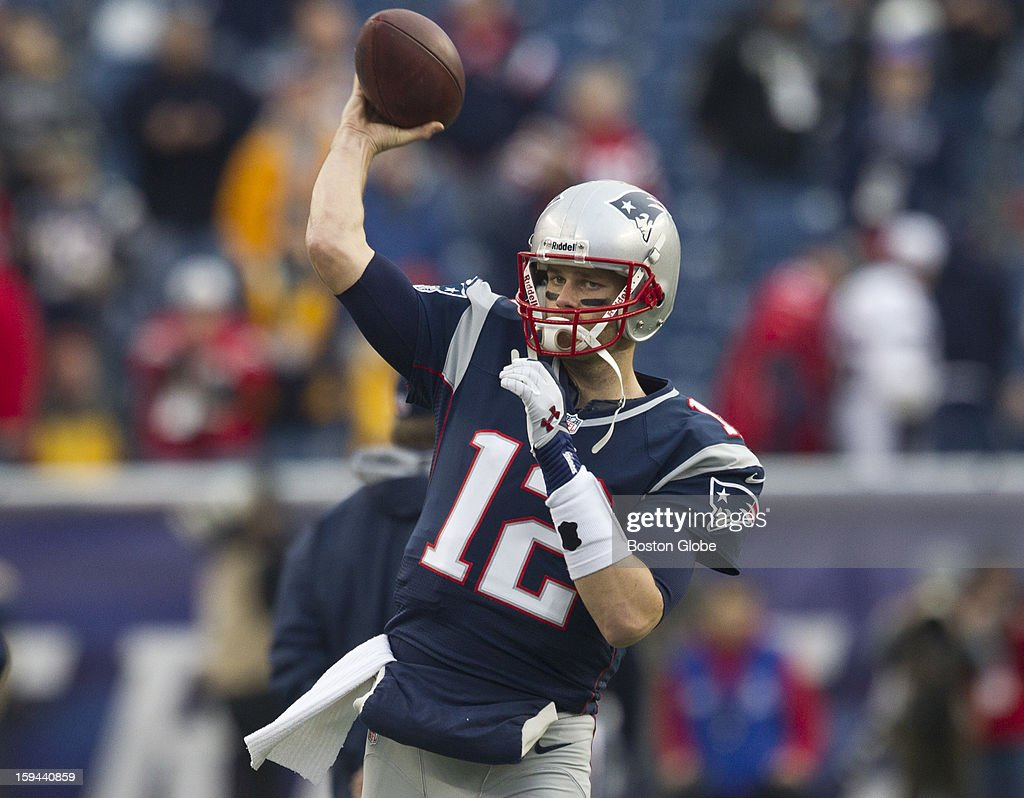 New England Patriots quarterback Tom Brady during pre-game warm up before the New England Patriots hosted the Houston Texans in an NFL AFC Divisional Playoff Game at Gillette Stadium, Jan. 13, 2013.