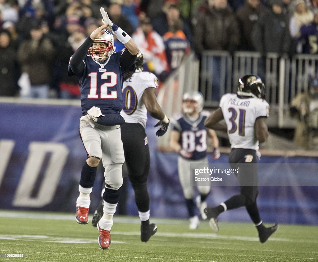 New England Patriots quarterback Tom Brady signals a time out call after completing a 17-yard pass to Aaron Hernandez against the Baltimore Ravens during second quarter action of the AFC Championship Game at Gillette Stadium on Sunday, Jan. 20, 2013.