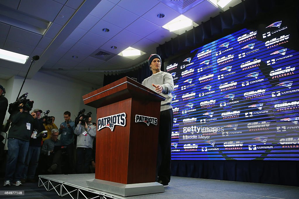 New England Patriots Quarterback Tom Brady talks to the media during a press conference to address the under inflation of footballs used in the AFC...