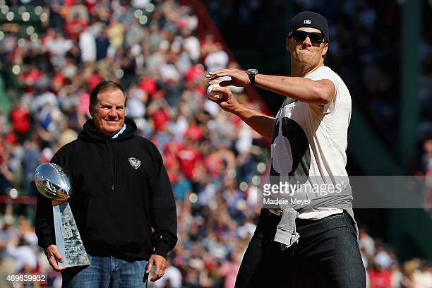 New England Patriots quarterback Tom Brady throws the first pitch before the game between the Boston Red Sox and the Washington Nationals as New...