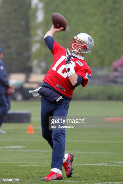 New England Patriots quarterback Tom Brady tosses a bomb during New England Patriots OTA on May 25 at the Patriots Practice Facility in Foxborough...