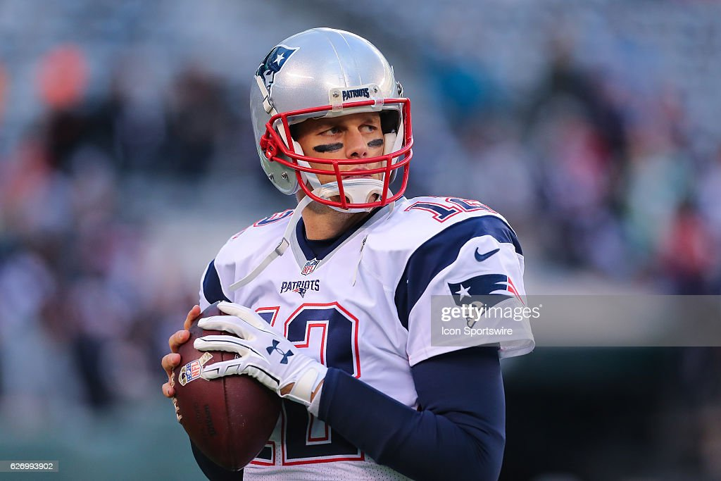 New England Patriots quarterback Tom Brady (12) warms up prior to the National Football League game between the New England Patriots and the New York Jets on November 27, 2016, at Met Life Stadium in East Rutherford, NJ. The New England Patriots defeated the New York Jets 22-17.