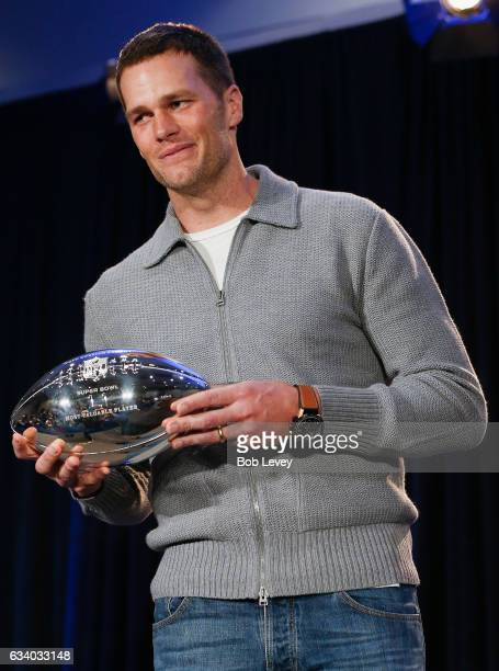 New England Patriots quarterback Tom Brady with the Super Bowl LI Pete Rozelle MVP Trophy at the Super Bowl Winner and MVP press conference on...