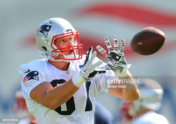 New England Patriots Rob Gronkowski catches a pass during the second day of training camp at the Gillette Stadium practice field in Foxborough Mass...