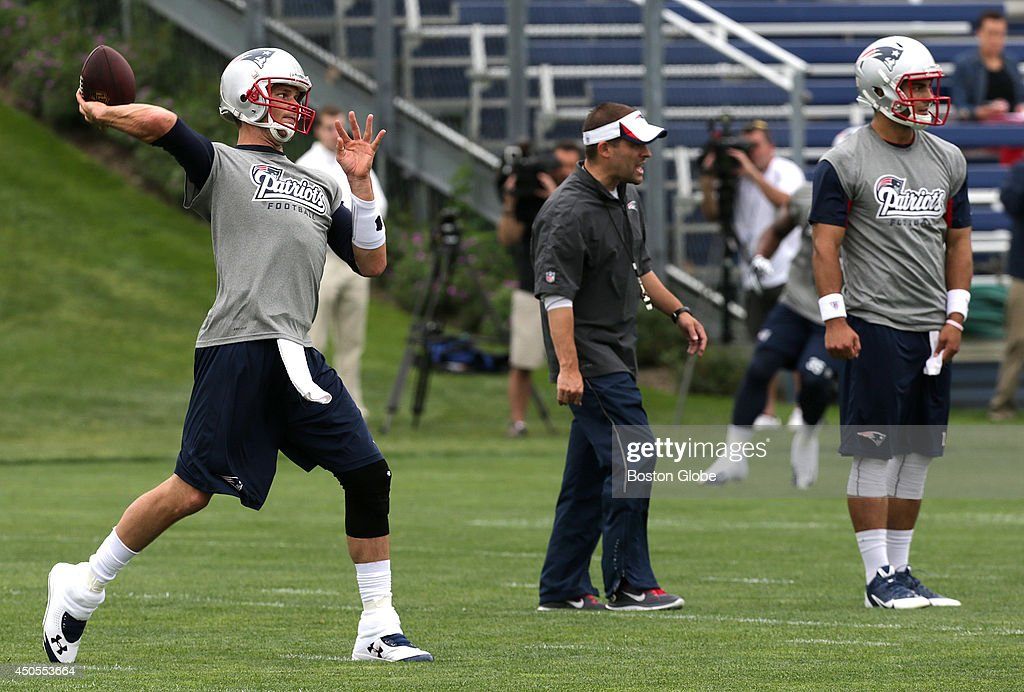 New England Patriots rookie quarterback Jimmy Garoppolo and New England Patriots quarterback Tom Brady during the team's organized team activities.