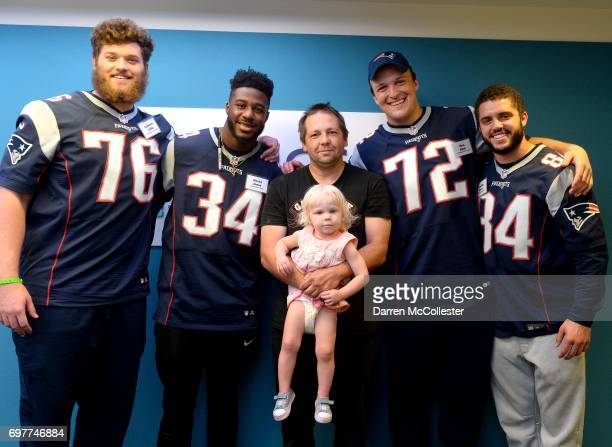 New England Patriots rookies Andrew Jelks David Jones Max Rich and Austin Carr visit Katie and Dad at Boston Children's Hospital June 19 2017 in...