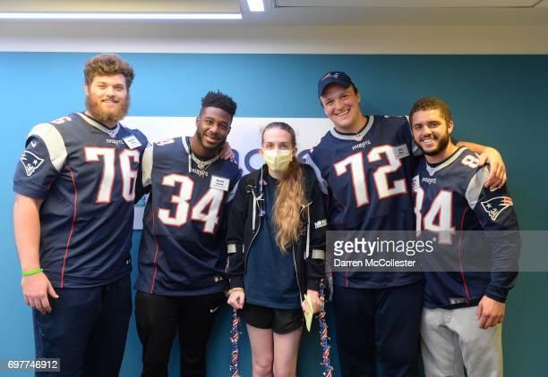 New England Patriots rookies Andrew Jelks David Jones Max Rich and Austin Carr visit Fiona at Boston Children's Hospital June 19 2017 in Boston...