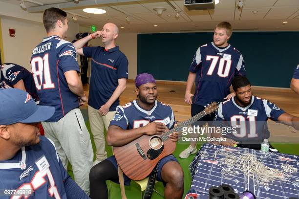 New England Patriots rookies Cody Hollister Corey Vereen Cole Croston and Deatrich Wise Jr visit kids at Boston Children's Hospital June 19 2017 in...