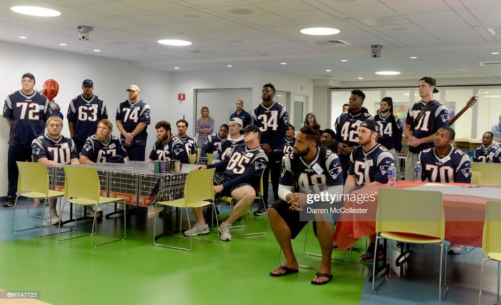 New England Patriots rookies kids at Boston Children's Hospital June 19, 2017 in Boston, Massachusetts.