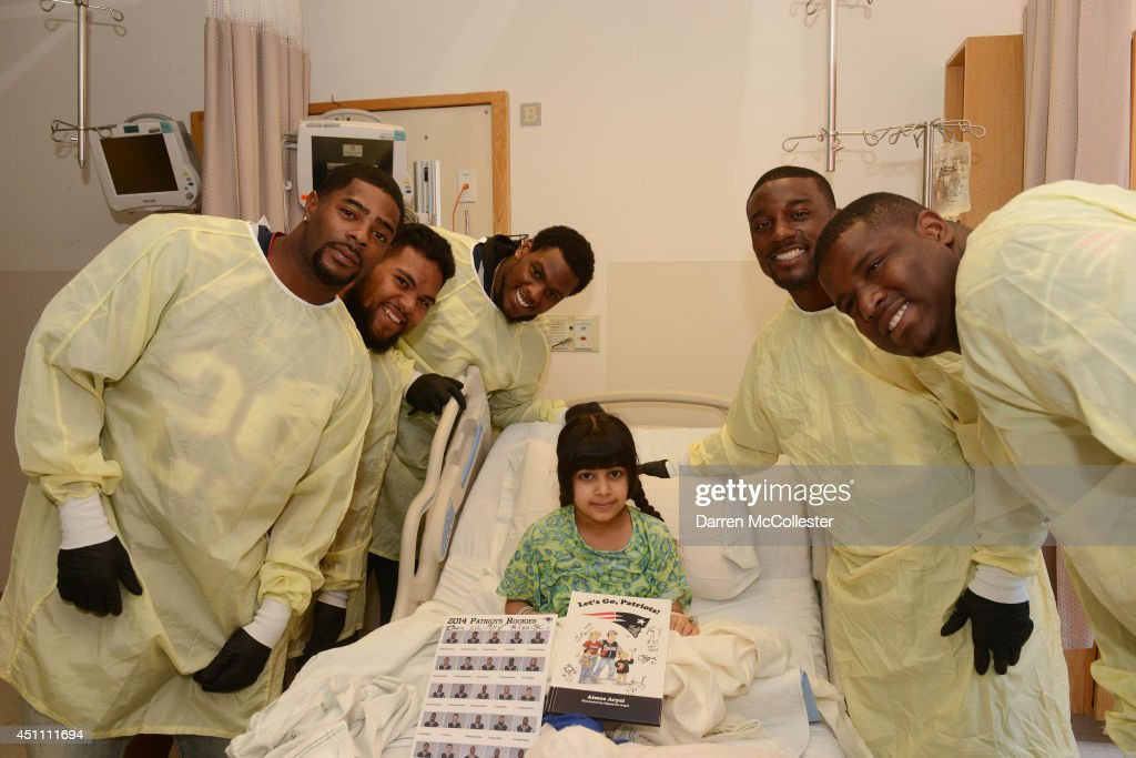 New England Patriots rookies (L to R) <a gi-track='captionPersonalityLinkClicked' href=/galleries/search?phrase=Malcolm+Butler&family=editorial&specificpeople=12913602 ng-click='$event.stopPropagation()'>Malcolm Butler</a>, Seal'i Epenesa, <a gi-track='captionPersonalityLinkClicked' href=/galleries/search?phrase=Dominique+Easley&family=editorial&specificpeople=8222854 ng-click='$event.stopPropagation()'>Dominique Easley</a>, Roy Finch, Cameron Flemming visit with Sara at Boston Children's Hospital June 23, 2014 in Boston, Massachusetts.