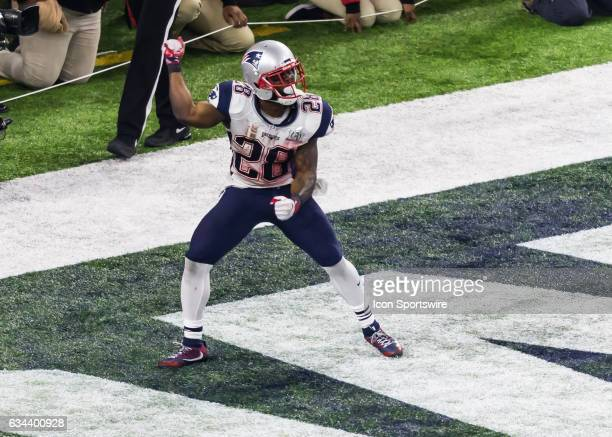 New England Patriots running back James White celebrates after scoring a touchdown during the Super Bowl LI between the New England Patriots and...