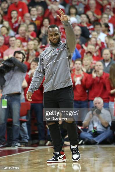 New England Patriots running back James White is welcomed back to Wisconsin during the Big Ten conference game between the Wisconsin Badgers and the...