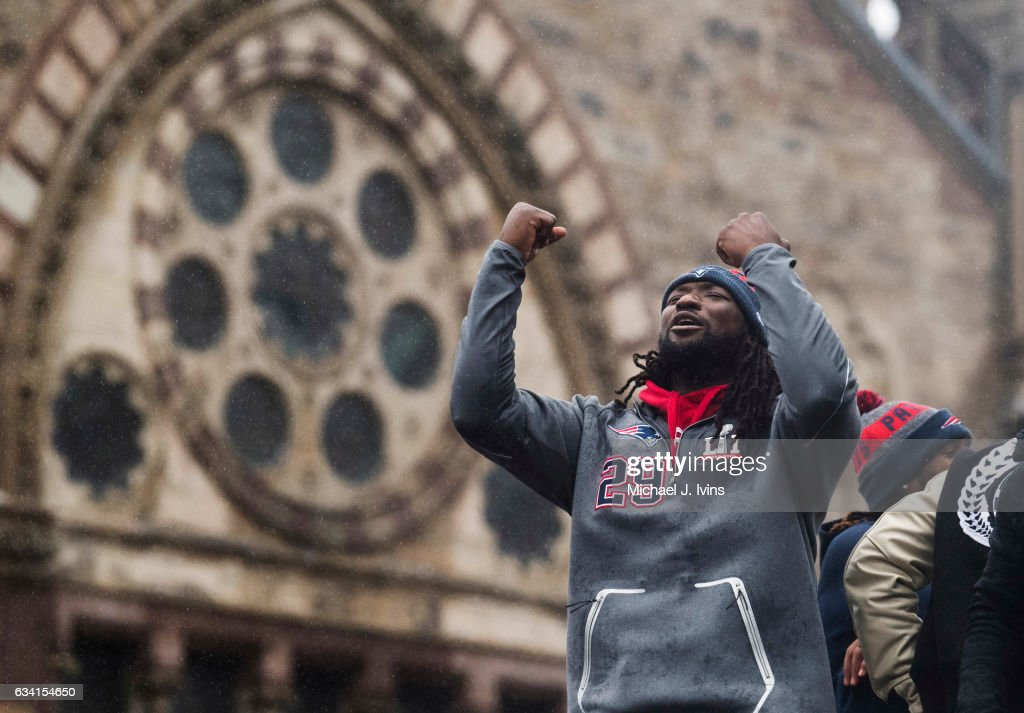 New England Patriots running back LeGarrette Blount celebrates during the Patriots victory parade on February 7, 2017 in Boston, Massachusetts. The Patriots defeated the Atlanta Falcons 34-28 in overtime in Super Bowl 51.