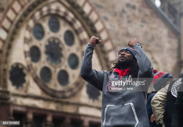 New England Patriots running back LeGarrette Blount celebrates during the Patriots victory parade on February 7 2017 in Boston Massachusetts The...