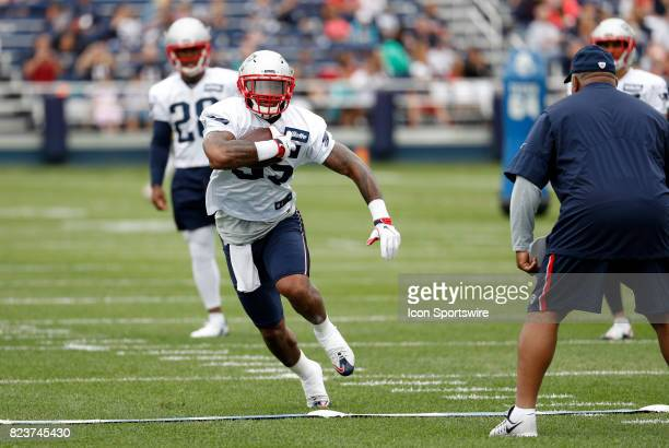 New England Patriots running back Mike Gillislee looks toNew England Patriots running backs Coach Ivan Fears for directions during New England...