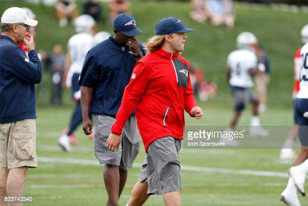 New England Patriots safeties coach Steve Belichick during New England Patriots training camp on July 27 at the Patriots Practice Facility in...
