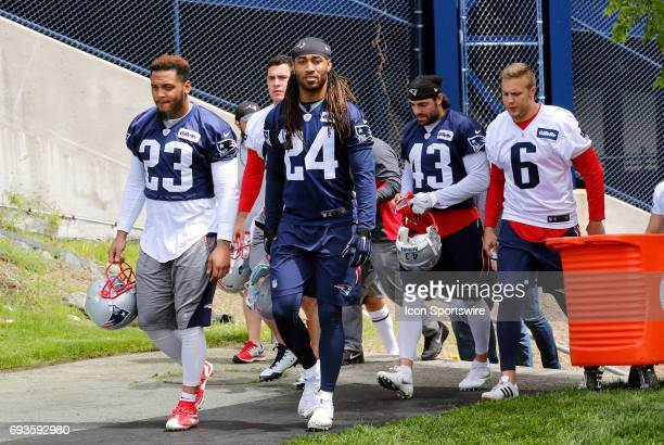 New England Patriots safety Patrick Chung New England Patriots corner back Stephon Gilmore New England Patriots defensive back Nate Ebner and New...