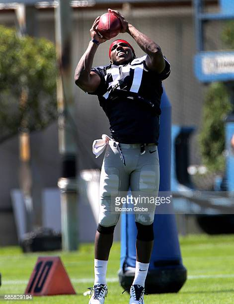 New England Patriots strong safety Jordan Richards pulls in a pass during the New England Patriots training camp session at Gillette Stadium in...