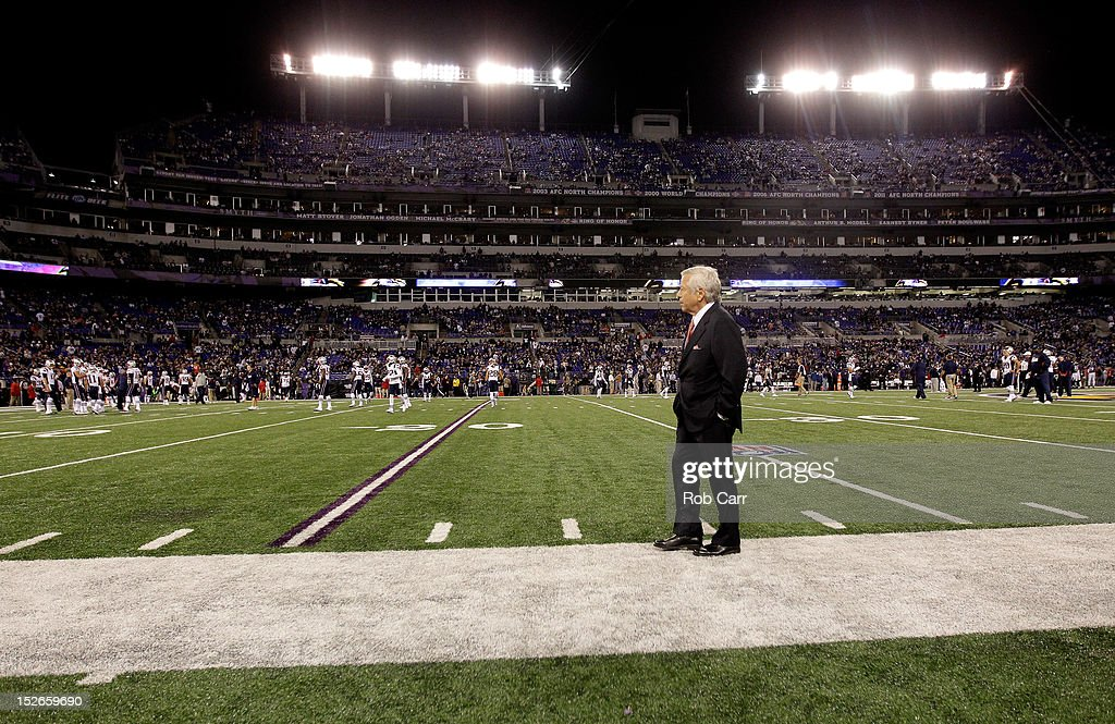 New England Patriots team owner <a gi-track='captionPersonalityLinkClicked' href=/galleries/search?phrase=Robert+Kraft&family=editorial&specificpeople=221220 ng-click='$event.stopPropagation()'>Robert Kraft</a> stands on the sideline against the Baltimore Ravens at M&T Bank Stadium on September 23, 2012 in Baltimore, Maryland.