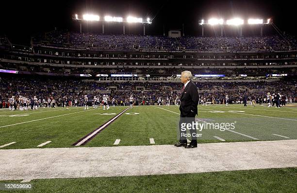 New England Patriots team owner Robert Kraft stands on the sideline against the Baltimore Ravens at MT Bank Stadium on September 23 2012 in Baltimore...