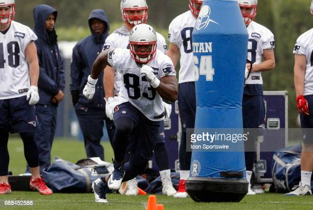 New England Patriots tight end Dwayne Allen during New England Patriots OTA on May 25 at the Patriots Practice Facility in Foxborough Massachusetts