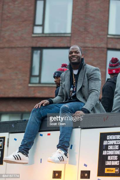 New England Patriots tight end Martellus Bennett celebrates during the New England Patriots victory parade on February 7 2017 in Boston Massachusetts...