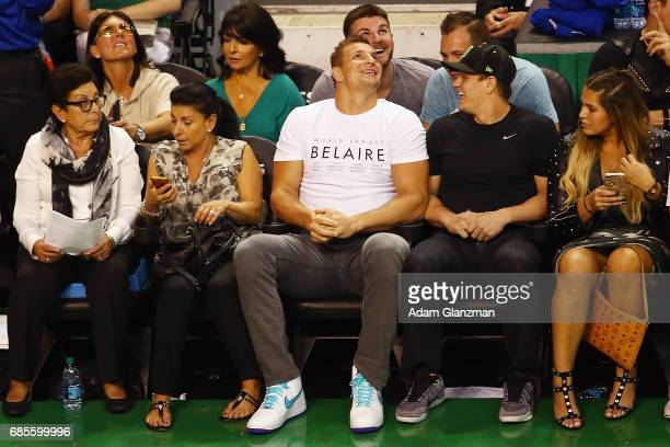 New England Patriots tight end Rob Gronkowski attends Game Two of the 2017 NBA Eastern Conference Finals between the Cleveland Cavaliers and the...