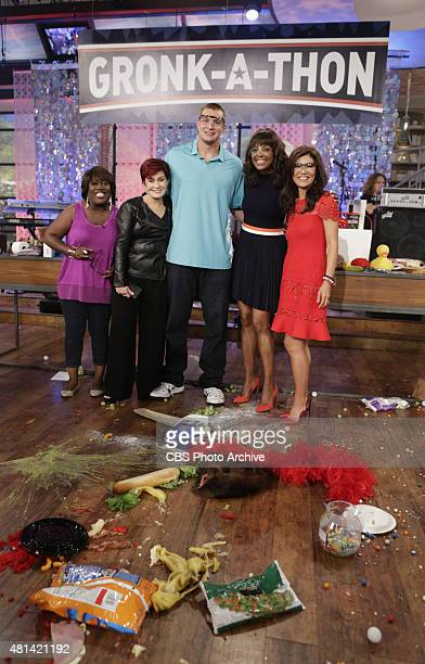 New England Patriots tight end Rob Gronkowski faces a Gronkstyle challenge called the Gronkathon on 'The Talk' Wednesday July 15 2015 on the CBS...