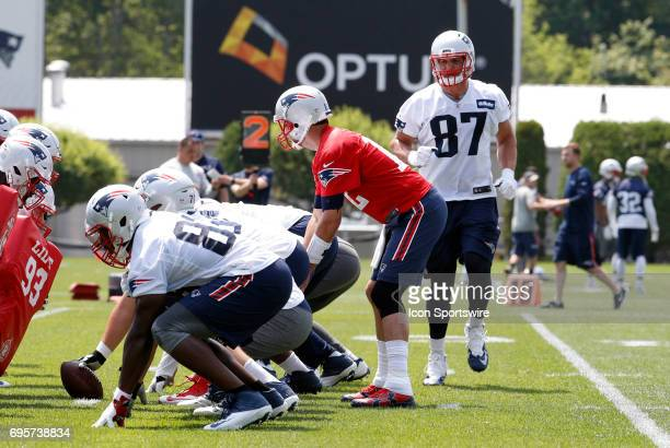 New England Patriots tight end Rob Gronkowski goes in motion as New England Patriots quarterback Tom Brady calls the signals during New England...